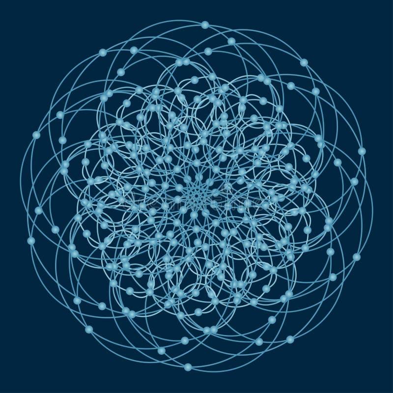 Mandala con símbolos y elementos sagrados de la geometría ilustración del vector