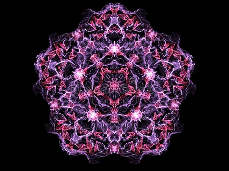 Mandala cor-de-rosa e chama roxa pentagonal no fundo preto Mim ilustração royalty free