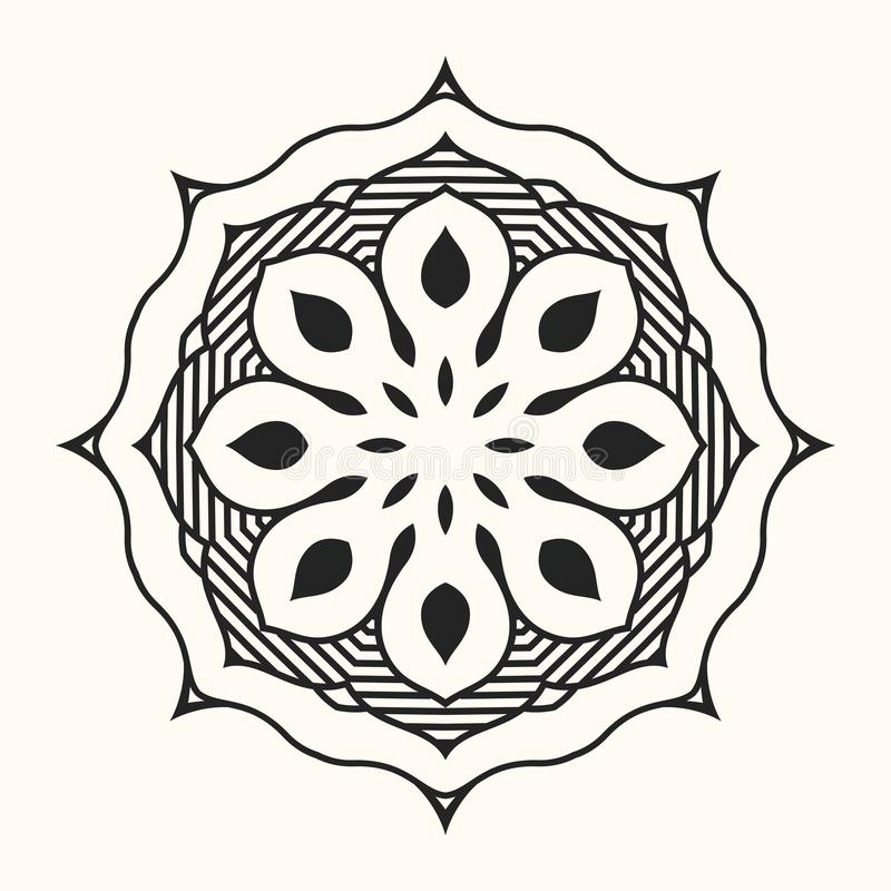 mandala Creatief cirkelornament Rond symmetrisch patroon stock illustratie