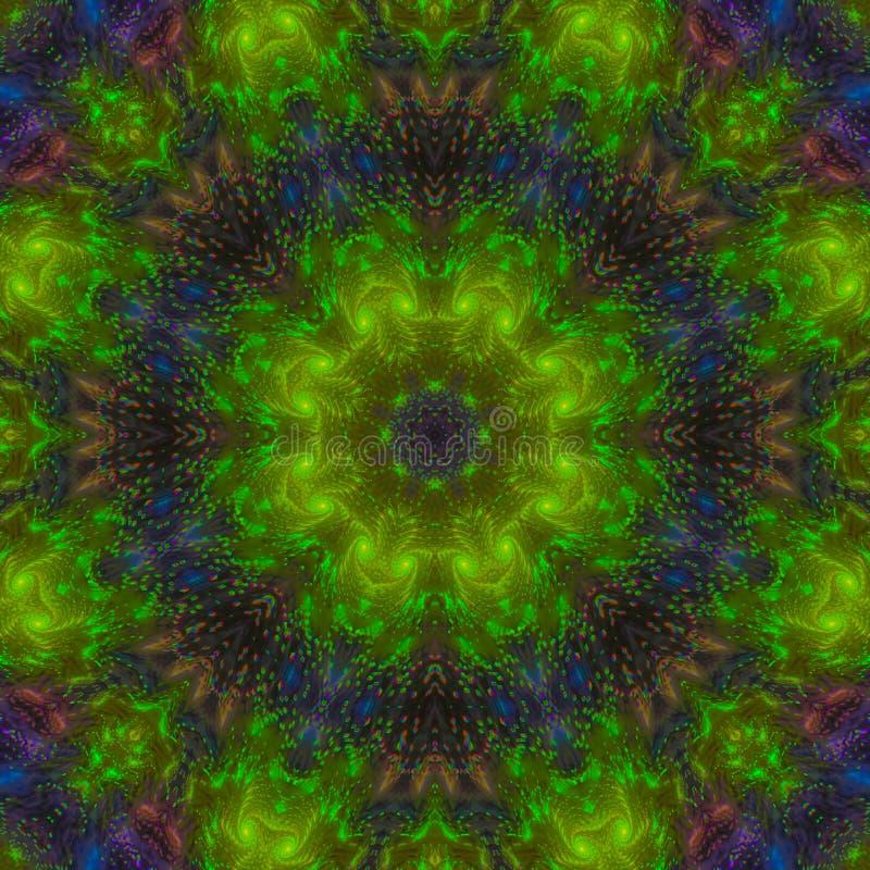 Mandala criativa do papel de parede gráfico digital abstrato da textura da forma do caleidoscópio, ornamento da cor, fundo da dec imagem de stock