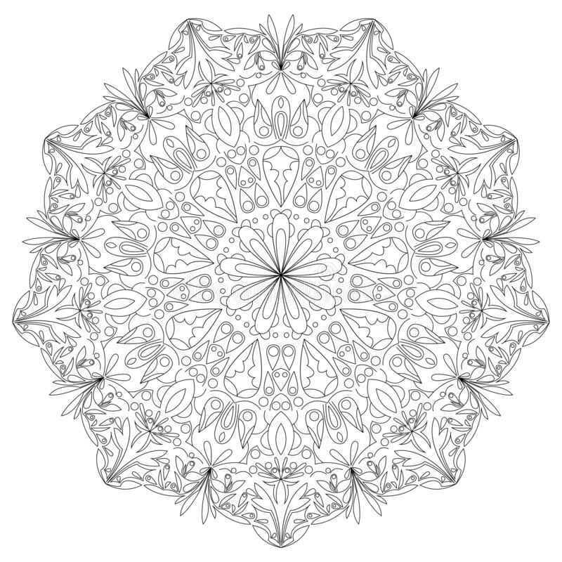 Mandala czarny i bia?y r?ka rysuj?ca ilustracja ilustracji