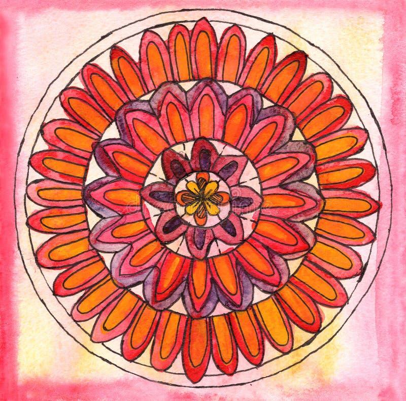 Mandala czerwieni menchii pomarańczowej akwareli ilustracyjny abstrakcjonistyczny ornament ilustracja wektor