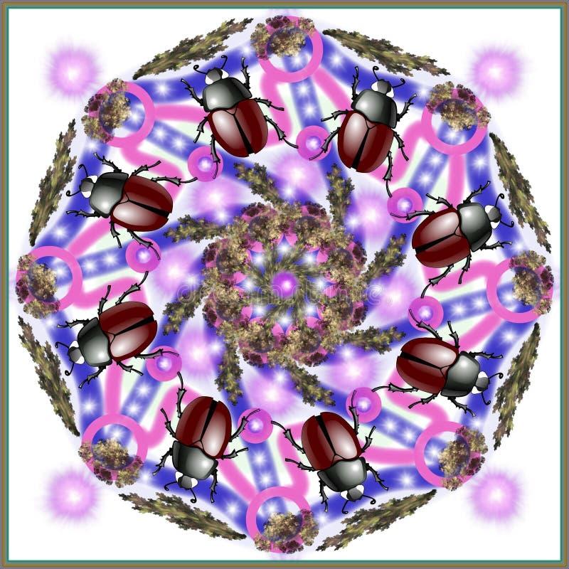 Mandala décoratif avec un scarabée pourpre illustration stock