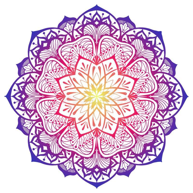 Mandala décoratif dans des couleurs de rose et violettes jaunes illustration de vecteur