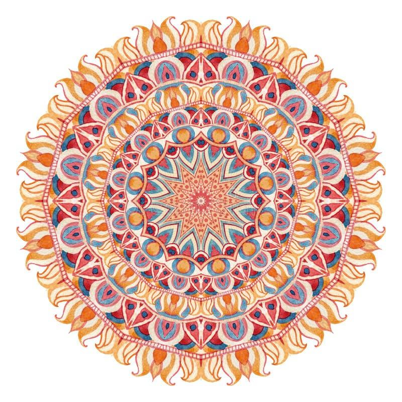 Mandala d'aquarelle avec la géométrie sacrée Dentelle fleurie sur le fond blanc illustration stock