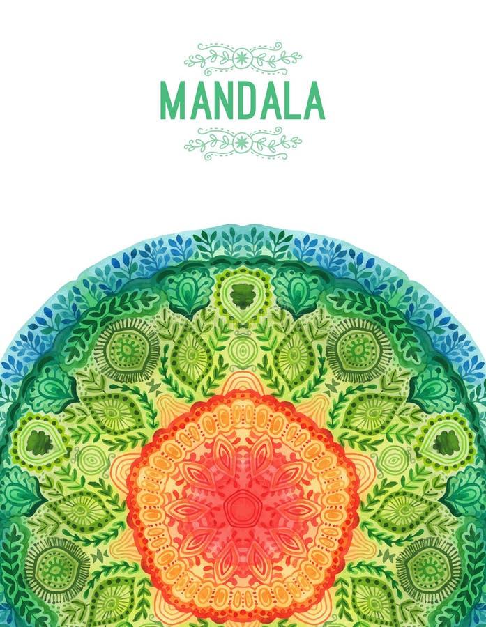 Mandala d'aquarelle de vecteur Décor pour votre conception, ornement de dentelle Modèle rond, style oriental illustration libre de droits