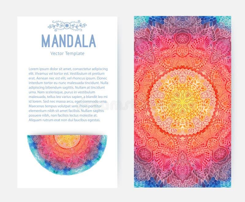 Mandala d'aquarelle, ornement de dentelle fait en modèle rond dans le style oriental illustration libre de droits