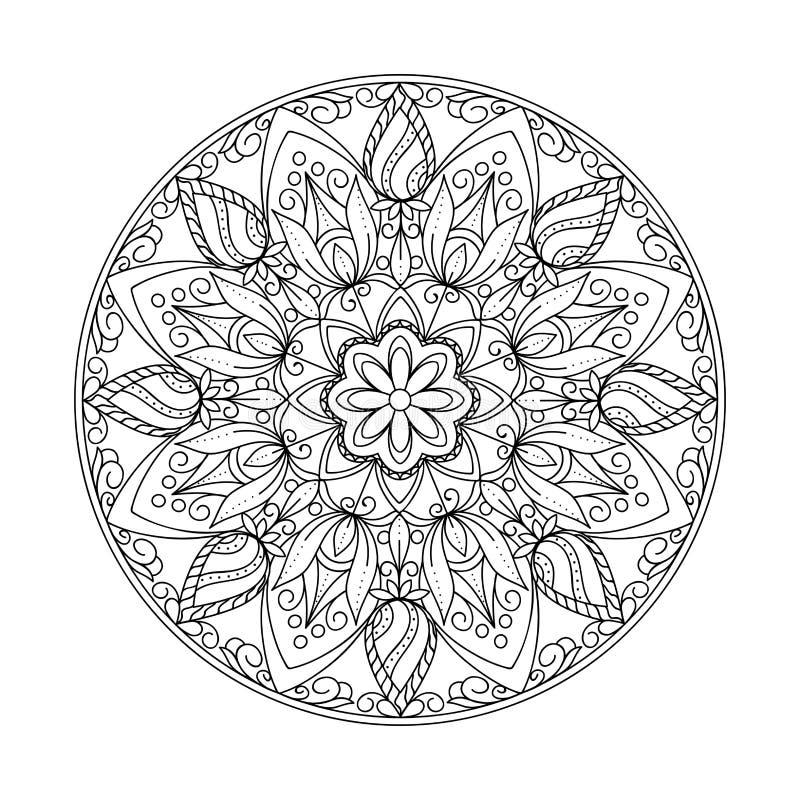 Mandala d'arabesque d'isolement par découpe noire avec des feuilles illustration libre de droits