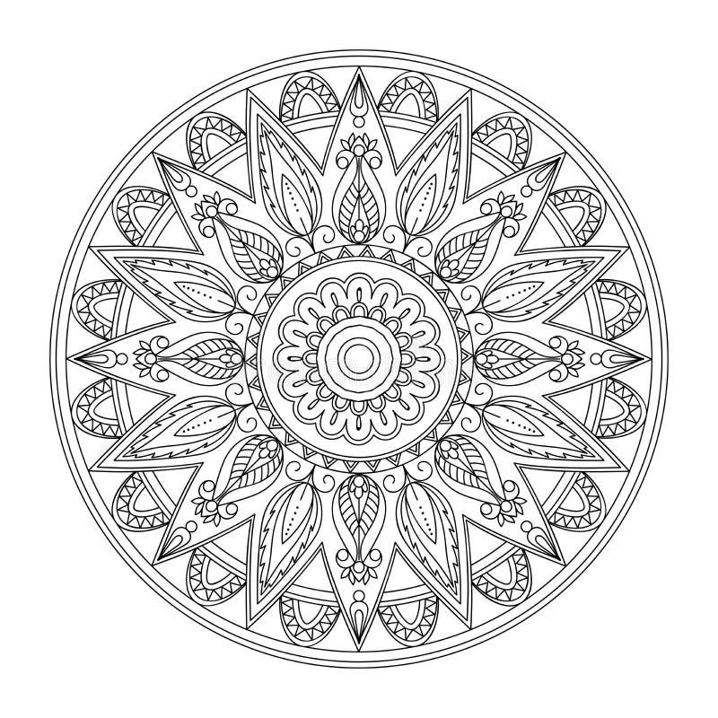 Mandala d'arabesque d'isolement par découpe noire avec les feuilles 2 illustration libre de droits