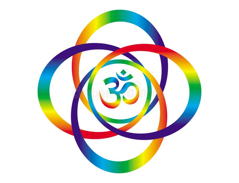 Mandala d'arc-en-ciel avec un signe d'Aum/OM objet d'art abstrait Symbole spirituel illustration libre de droits
