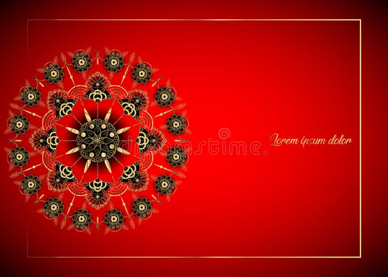 Mandala d'or de fleur Éléments décoratifs de cru Modèle oriental, illustration L'Islam, l'arabe, Indien, Chinois, Espagne, illustration stock