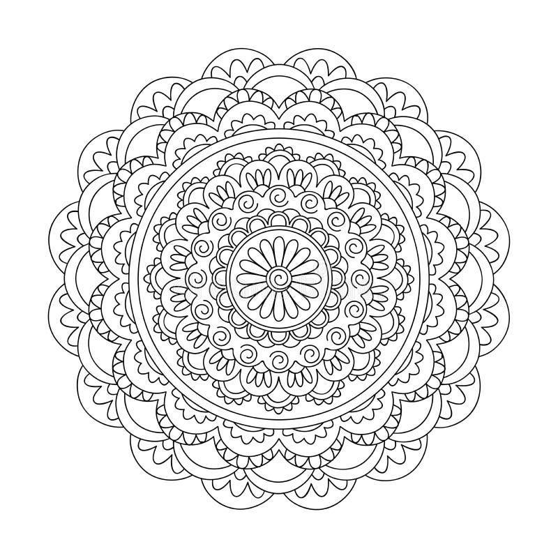 Mandala d'isolement d'arabesque avec la spirale illustration stock