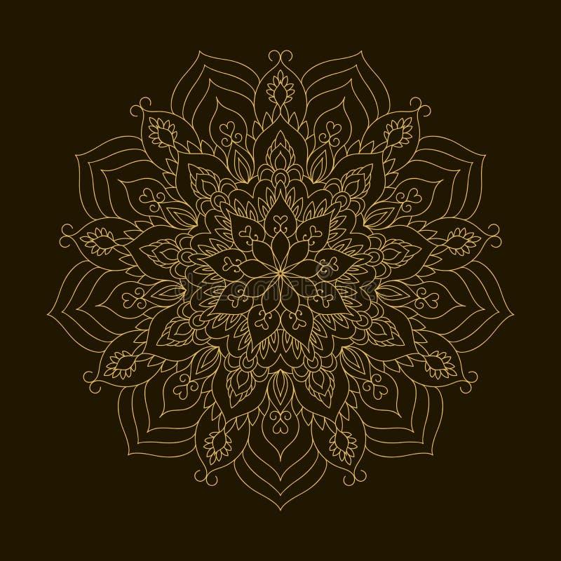 Mandala d'or Ornement de circulaire de calibre illustration stock