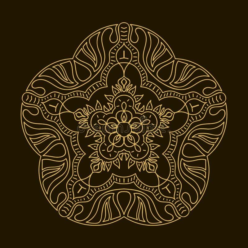 Mandala d'or Ornement de circulaire de calibre illustration de vecteur