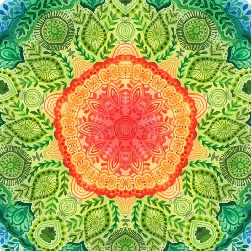 Mandala da aquarela do vetor Decoração para seu projeto, ornamento do laço Teste padrão redondo, estilo oriental ilustração stock