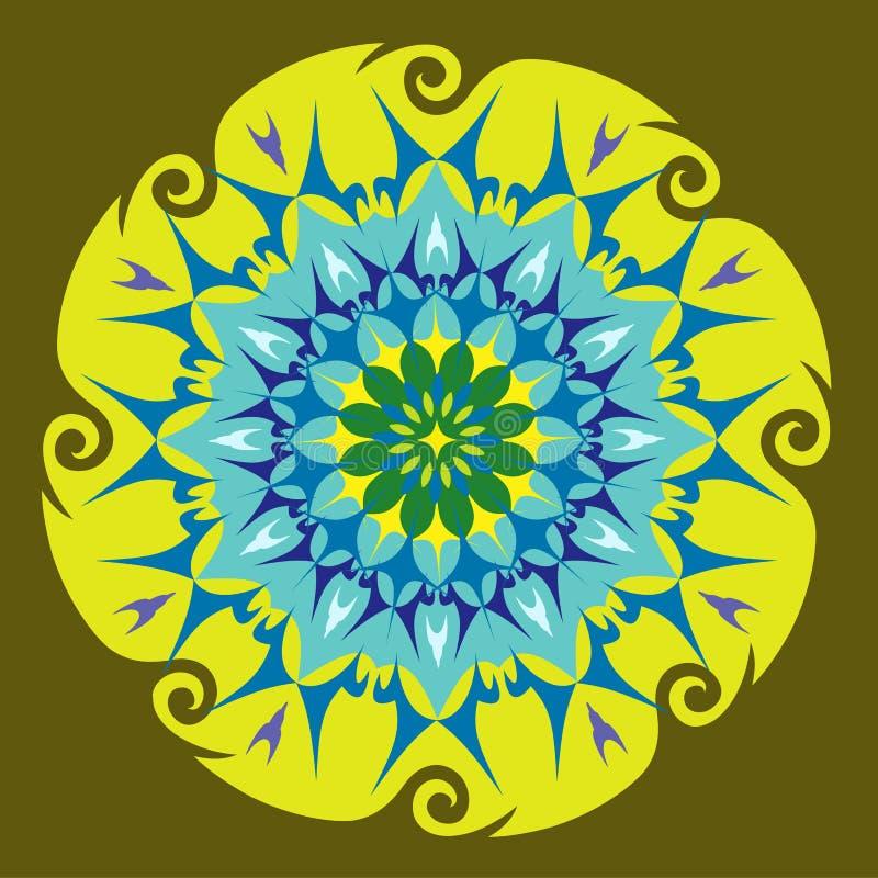 Mandala da energia em cores verdes ilustração do vetor