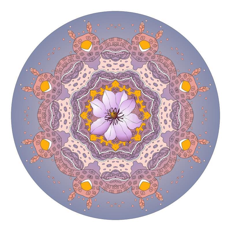 Mandala da flor Clematis Ornamento redondo bonito ilustração do vetor