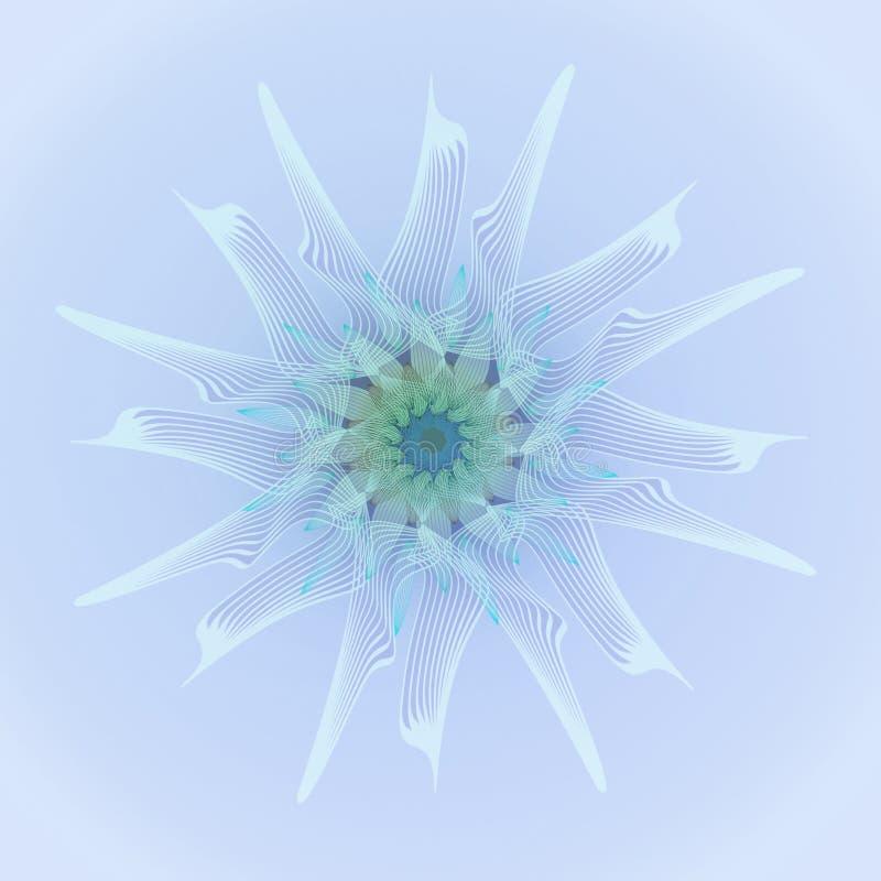 Mandala da flor LISO ILUMINE - O FUNDO AZUL FLOR CENTRAL NA LUZ - AZUL, AZUL, ROXO, ÁGUA-MARINHA ilustração royalty free