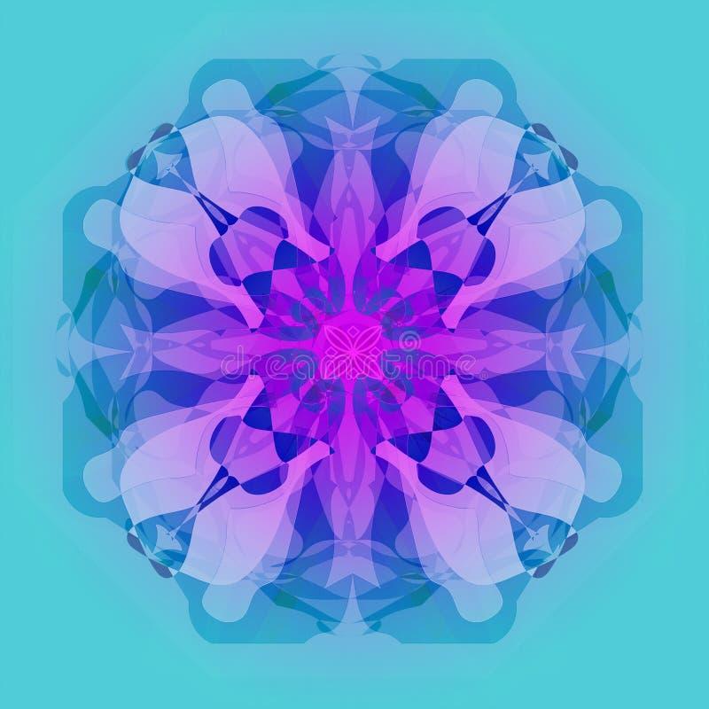 Mandala da flor PÁLETE DAS CORES PASTEL LISO ILUMINE - O FUNDO AZUL ilustração stock