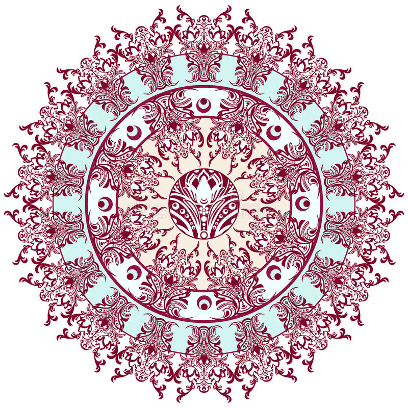Mandala with damask floral pattern, arabesque, round oriental ornament, ethnic design. Abstract traditional finely woven decor for royalty free illustration