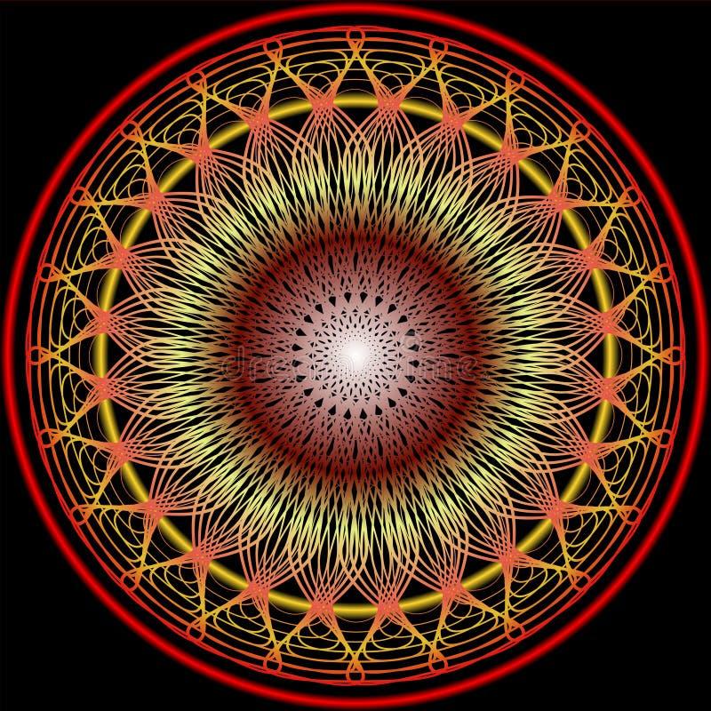 Mandala dans des couleurs chaudes pour l'obtention de vitalité Modèles en filigrane de broderie en le jaune, l'orange et le rouge illustration de vecteur