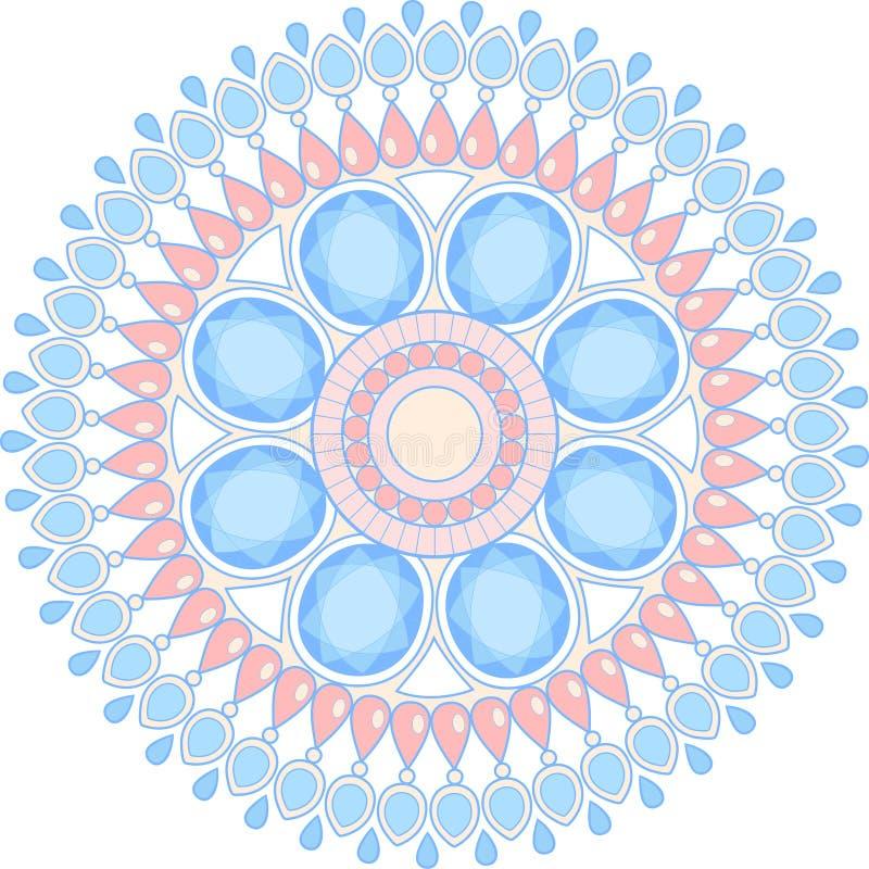 Mandala de bijoux avec l'illustration de pierre gemme illustration de vecteur