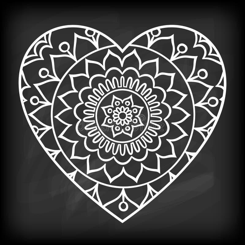 Mandala de coeur de griffonnage illustration de vecteur illustration du griffonnage - Mandala de coeur ...