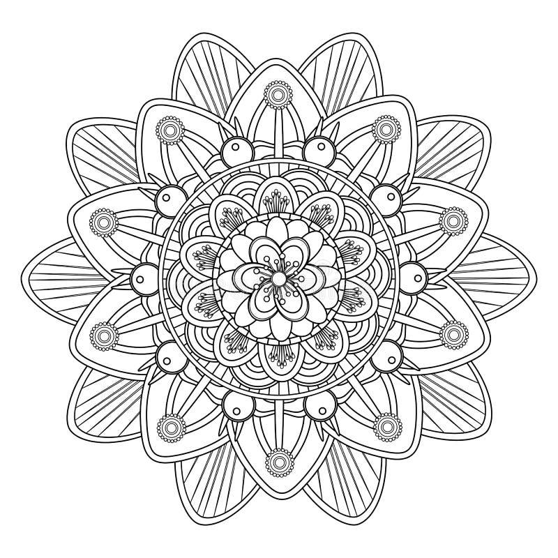Mandala de coloration d'isolement sur un fond blanc, élément ethnique oriental de boho, conception florale arabe de cru illustration stock