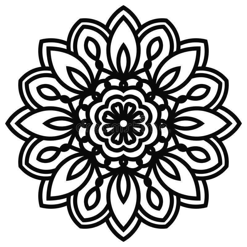 Download Mandala De Dentelle Dans Le Style De Zentangle Vue Supérieure De Fleur Noire D'imagination Illustration de Vecteur - Illustration du illustration, arabe: 77159826