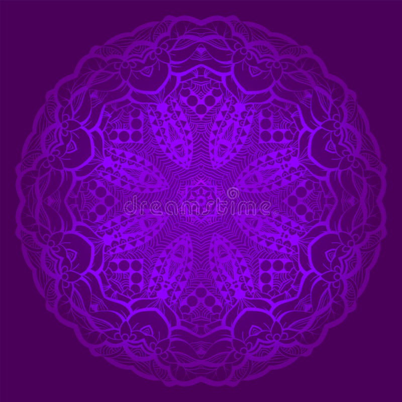 Mandala de encaje en el estilo indio Ornamento bohemio Tracery del círculo de la púrpura real Plantilla única para el diseño o el stock de ilustración