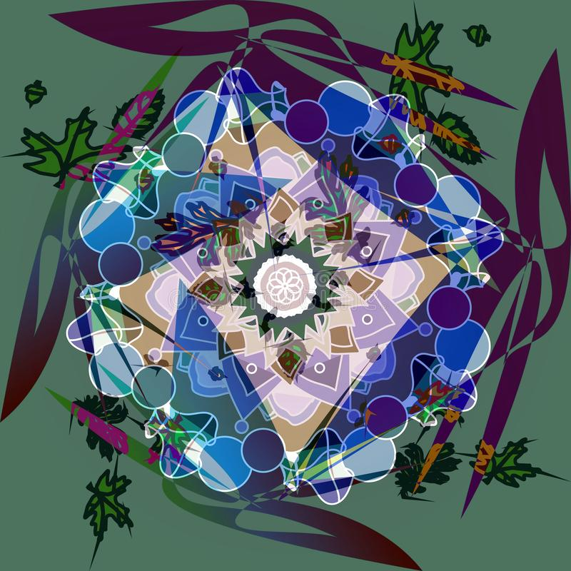 Mandala de fleur FLEUR CENTRALE LINÉAIRE DANS LE BLANC, LE BLEU, LA VIOLETTE, LE ROSE, LE POURPRE ET LE BROWN abr?gez le fond illustration de vecteur