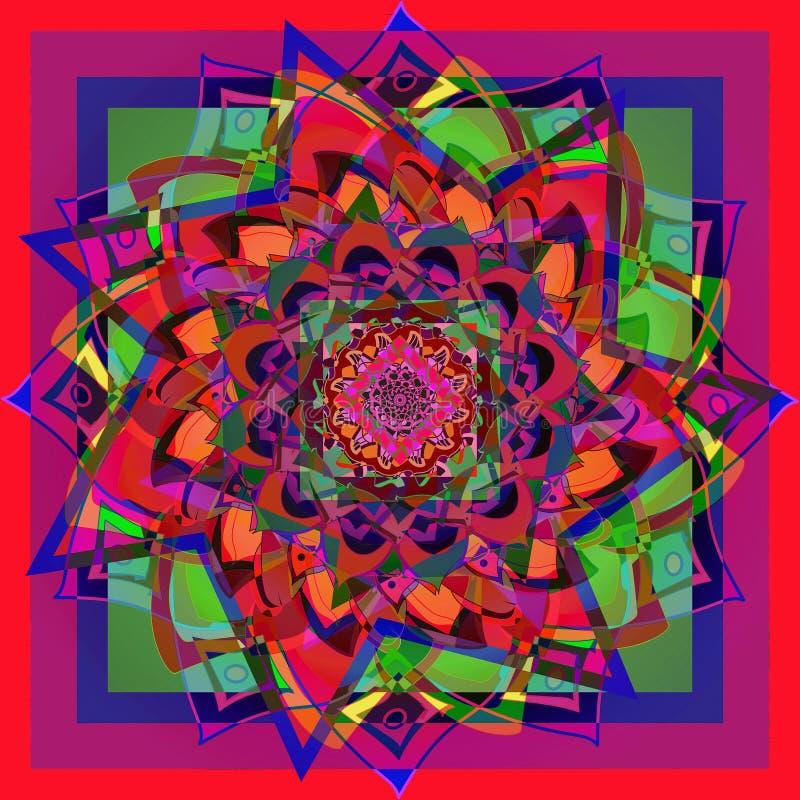 Mandala de fleur de dahlia d'étoile, à l'arrière-plan rouge, bleu, vert, jaune, pourpre, violet, géométrique illustration libre de droits