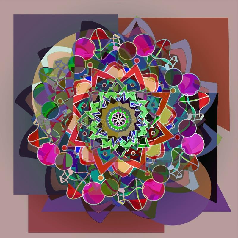 Mandala de fleur de dahlia dans la palette de couleurs en pastel, fond géométrique dans brun et gris illustration stock