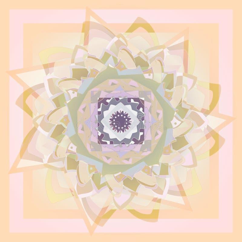 Mandala de fleur Dahlia Flower PALETTE DE COULEURS EN PASTEL abr?gez le fond PALETTE DE MONOCROME illustration de vecteur