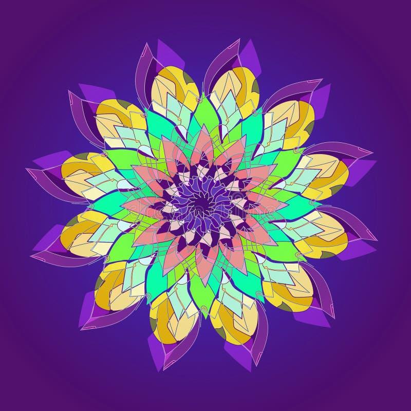 Mandala de fleur de Lotus FOND VIOLET SIMPLE FLEUR CENTRALE EN JAUNE, TURQUOISE, AIGUE-MARINE, VIOLETTE, POURPRE Conception lin?a illustration libre de droits