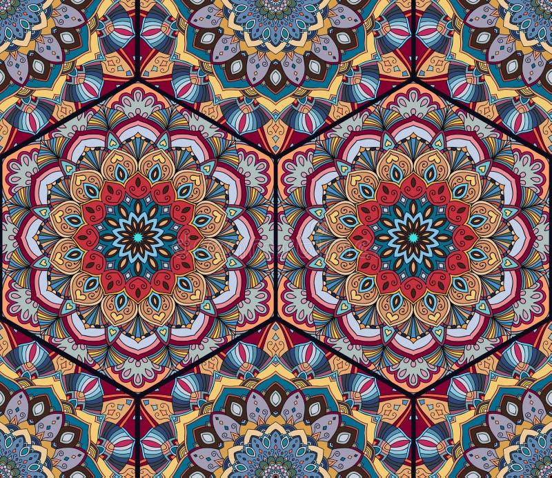 Mandala de Honey Comb Hex Pattern Flower illustration libre de droits