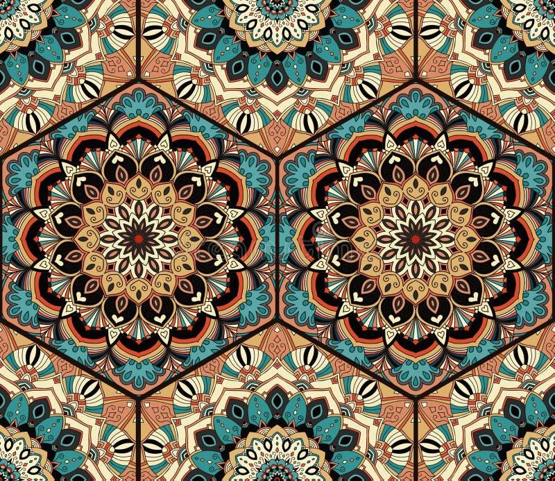 Mandala de Honey Comb Hex Pattern Flower de tuile illustration stock