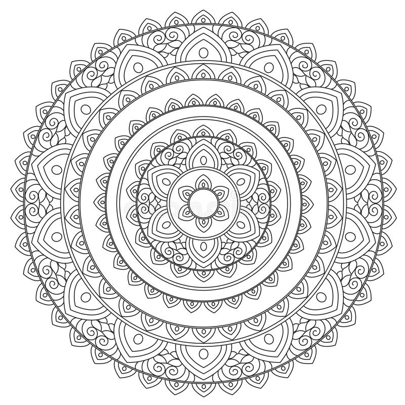 Mandala de l'arabe d'ensemble de coloration illustration stock