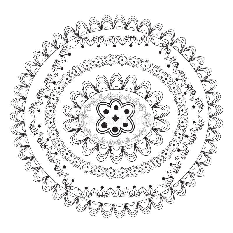 Mandala de la flor Elementos decorativos de la vendimia Modelo oriental, ejemplo del vector P?gina del colorante de la mandala ci ilustración del vector