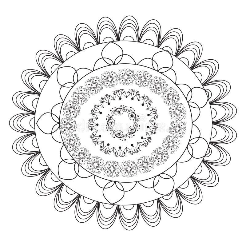 Mandala de la flor Elementos decorativos de la vendimia Modelo oriental, ejemplo del vector P?gina del colorante de la mandala ci stock de ilustración