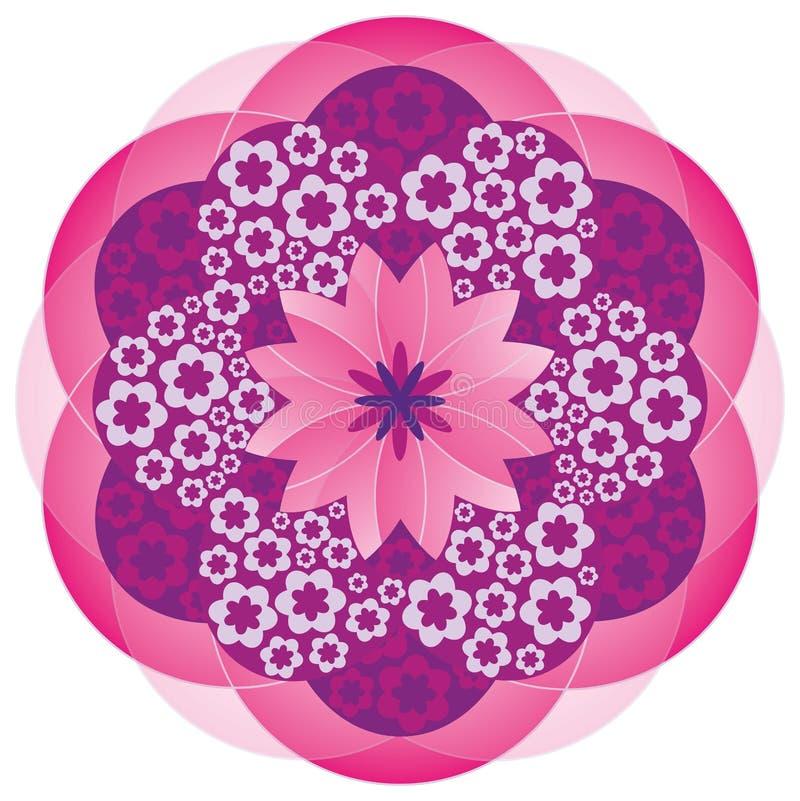 Mandala de la flor en colores rosados stock de ilustración