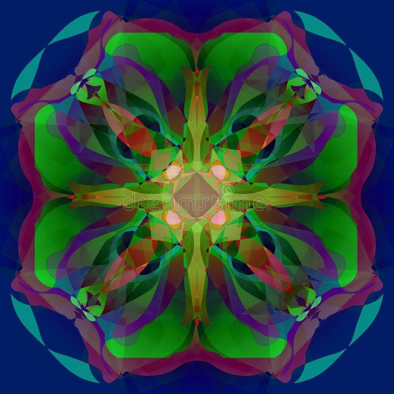 Mandala de la flor FONDO AZUL PROFUNDO LLANO FLOR CENTRAL EN LA TURQUESA, VERDE, PÚRPURA, BORGOÑA, VERDE Y ROSADO ilustración del vector