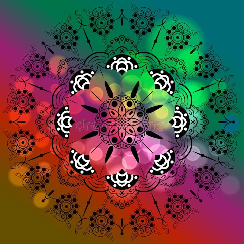 Mandala de la flor Modelo oriental de los elementos decorativos del vintage, ejemplo Islam, árabe, indio, marroquí, España, turca ilustración del vector