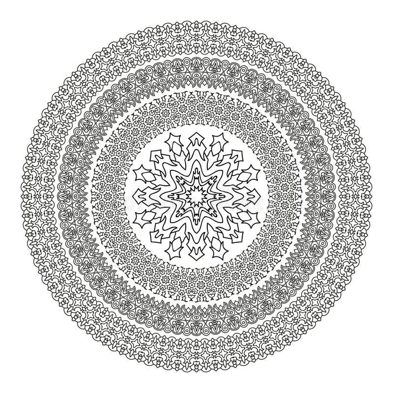 Mandala De La Flor Para El Libro De Colorear Modelo étnico Blanco Y ...
