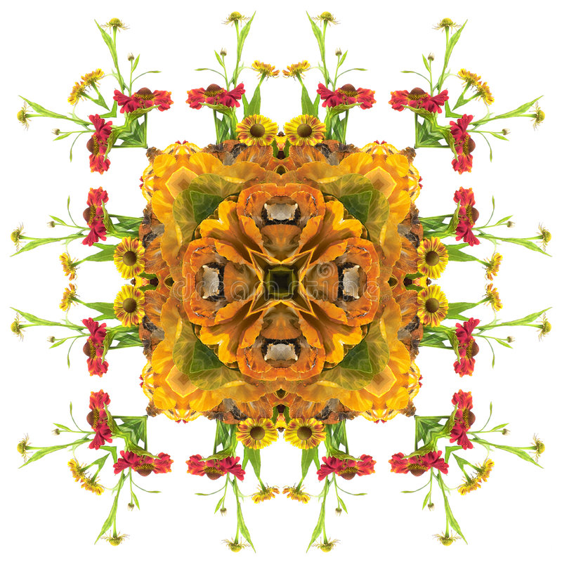 Mandala de la naranja del otoño stock de ilustración