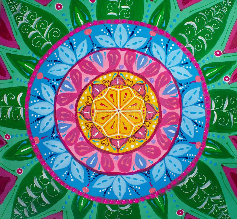 Mandala de la pintura, colores brillantes Pintado a mano libre illustration