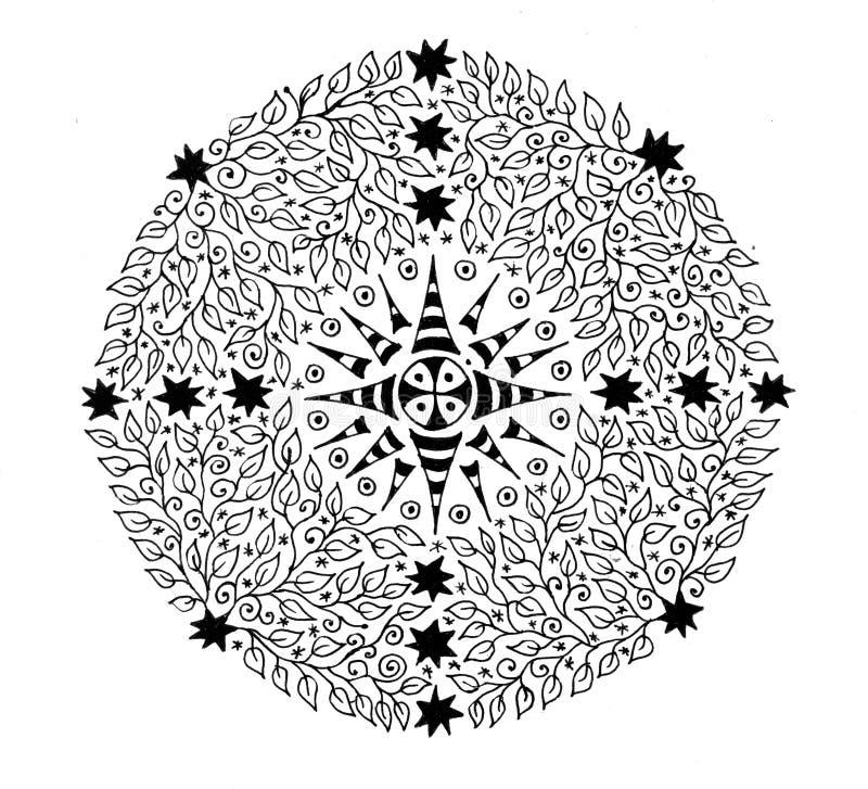 Mandala de las hojas El dibujo gráfico blanco y negro sale del modelo ilustración del vector
