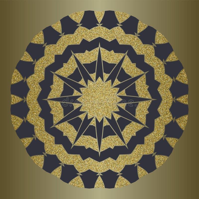 Mandala de luxe avec le scintillement d'or dans le style ethnique Fond décoratif avec l'ornement de vintage illustration libre de droits