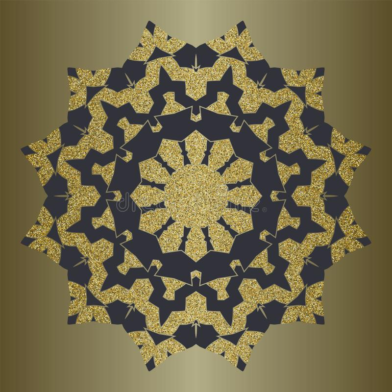 Mandala de luxe avec le scintillement d'or dans le style ethnique Fond décoratif avec l'ornement de vintage illustration stock