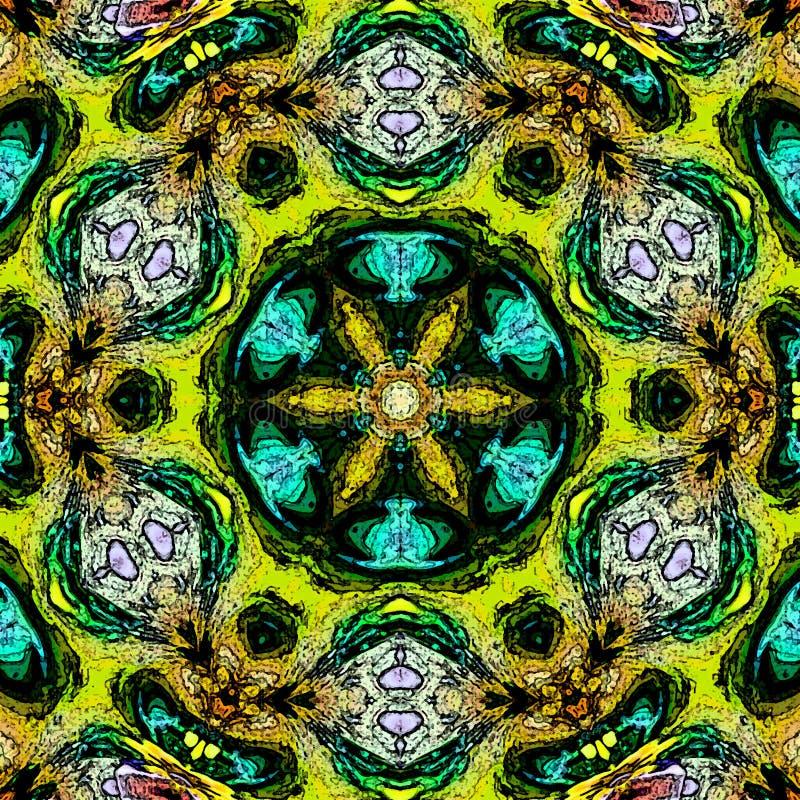 Mandala de néon da cor, projeto psicadélico do arabesque de turquesa ilustração royalty free